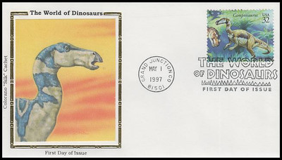 3136a-o / 32c World of Dinosaurs Set of 15 Colorano Silk 1997 FDCs