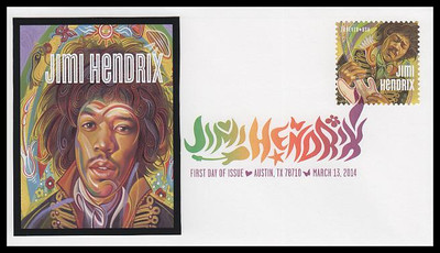 4880 / 49c Jimi Hendrix : Rock Guitarist : Singer : Songwriter 2014 Digital Color Postmark FDCO Exclusive FDC