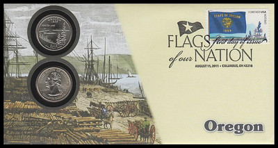 4316 / 42c Flags Of Our Nation : Oregon State Quarter Coin Fleetwood 2011 First Day Cover