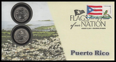 4318 / 42c Flags Of Our Nation : Puerto Rico State Quarter Coin Fleetwood 2011 First Day Cover