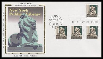 3769 / Non-Denominated (10c) New York Public Library Lion Coils with PNC # S11111 Colorano Silk 2003 FDC