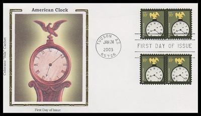3757 / 10c American Clock Colorano Silk 2003 FDC