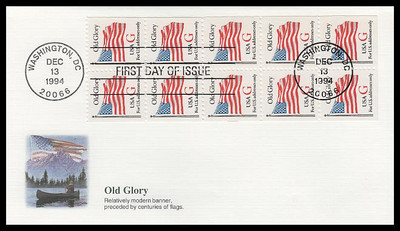 2885a / G - Rate ( 32c ) Old Glory Bklt Pane of 10 Fleetwood 1994 FDC