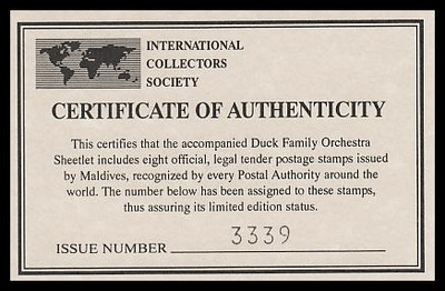 2059 / RF5 Disney Duck Family Orchestra 1995 Maldives Souvenir Sheet of 8 MNH VF with Certificate