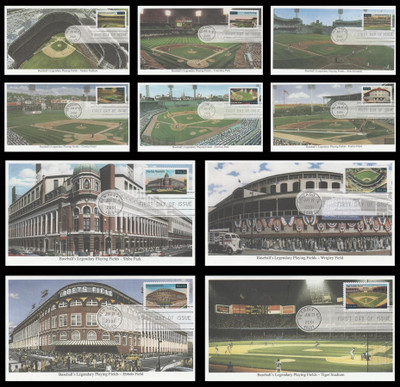 3510 - 3519 / 34c Legendary Major League Baseball Playing Fields Set of 10 New York, NY Postmark 2001 Mystic FDCs