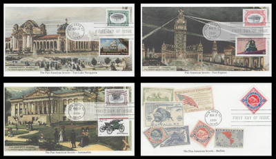 3505a - d / Pan - American Inverts Souvenir Sheet Singles Set of 4 Mystic 2001 FDCs