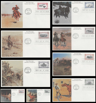 3209a - i / 1c - $2 Trans-Mississippi Centennial Reissue Set of 9 Mystic 1998 FDCs