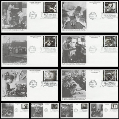 3772 a - j / 37c American Filmmaking Behind the Scenes Set of 10 Mystic 2003 First Day Covers