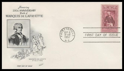 1097 / 3c Marquis de Lafayette Fleetwood 1957 FDC