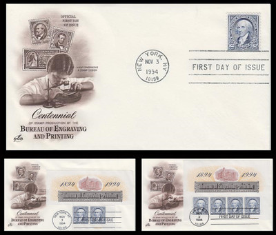2875 and 2075a / $2 x 4 Bureau of Engraving and Printing Centennial Single, Pair and Souvenir Sheet Set of 3 Artcraft 1994 FDCs