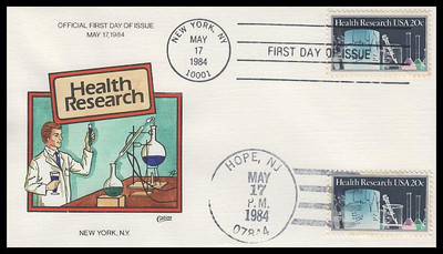 2087 / 20c Health Research Dual Cancel Collins Hand-Painted 1984 FDC