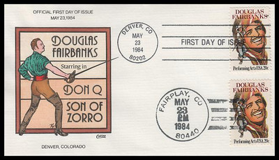 2088 / 20c Douglas Fairbanks : Performing Arts Series Dual Cancel Collins Hand-Painted 1984 FDC