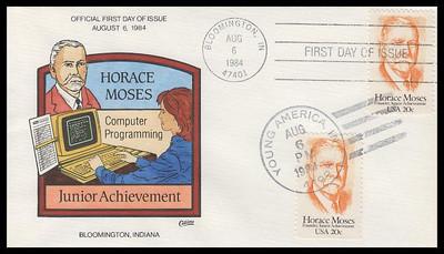 2095 / 20c Horace Moses : Junior Achievement Dual Cancel Collins Hand-Painted 1984 FDC