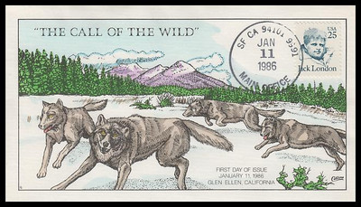 2182 / 25c Jack London : The Call of the Wild Collins Hand-Painted 1986 FDC