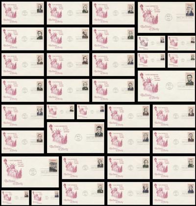 2216 - 2219 a - i / 22c Presidents Ameripex '86 Artcraft Set of 36 Severe #3C 1986 FDCs