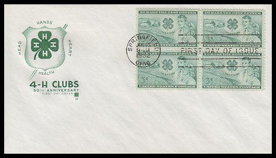 1005 / 3c 4-H Clubs Block House of Farnam 1952 First Day Cover