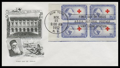 1016 / 3c International Red Cross Plate Block 1952 Artmaster First Day Cover