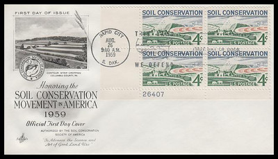 1133 / 4c Soil Conservation Plate Block Artcraft 1959 First Day Cover