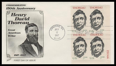 1327 / 5c Henry David Thoreau : Great American Writer Plate Block Fleetwood 1967 First Day Cover