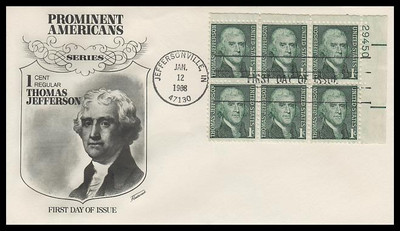1299 / 1c Thomas Jefferson : Prominent Americans Series Plate Block Fleetwood 1968 First Day Cover