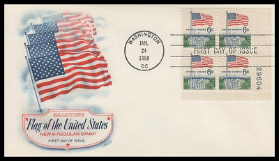 1338 / 6c U.S. Flag Plate Block Fleetwood 1968 First Day Cover