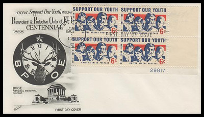 1342 / 6c Youth - Elks Plate Block Fleetwood 1968 First Day Cover