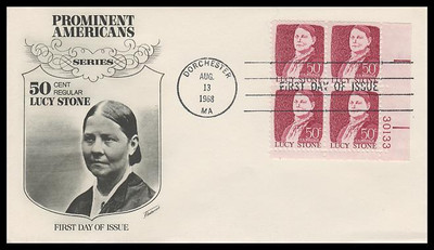 1293 / 50c Lucy Stone : Prominent Americans Series Plate Block Fleetwood 1968 First Day Cover