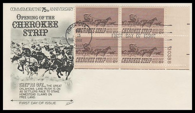 1360 / 6c Cherokee Strip Plate Block Fleetwood 1968 First Day Cover