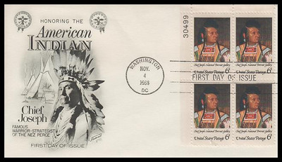 1364 / 6c American Indian : Chief Joseph Plate Block Fleetwood 1968 First Day Cover