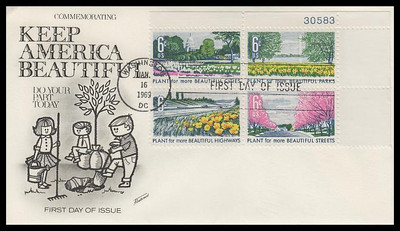 1368a / 6c Beautification of America Plate Block Fleetwood 1969 First Day Cover