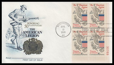 1369 / 6c American Legion Plate Block Fleetwood 1969 First Day Cover