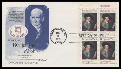 1553 / 10c Benjamin West : American Artist Plate Block Fleetwood 1975 First Day Cover