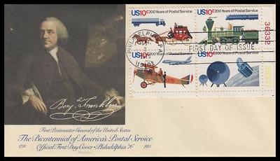 1575a / 10c U.S. Postal Service Bicentennial Plate Block Fleetwood 1975 First Day Cover
