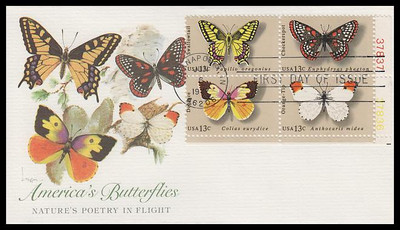 1715a / 13c Butterflies Se-Tenant Plate Block Fleetwood 1977 First Day Cover