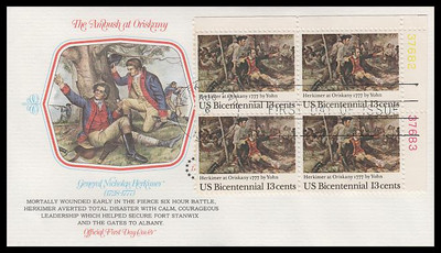 1722 / 13c Herkimer at Oriskany : Bicentennial Series Plate Block Fleetwood 1977 First Day Cover