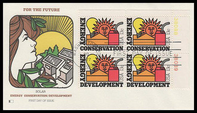 1724a / 13c Energy Se-Tenant Plate Block Fleetwood 1977 First Day Cover