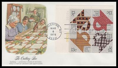 1748a / 13c Basket Design Quilts : American Folk Art Series Se-Tenant Plate Block Fleetwood 1978 FDC