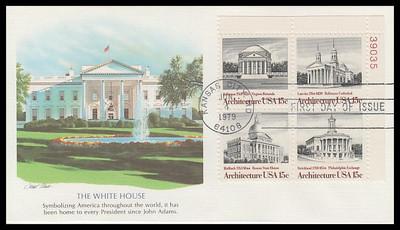 1782a / 15c American Architecture Se-Tenant Plate Block Fleetwood 1979 FDC