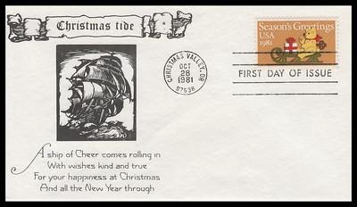 1940 / 20c Teddy Bear and Sleigh : Contemporary Christmas 1981 K.M.C. Venture FDC