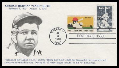 2046 / 20c Babe Ruth : Baseball Great Combo 1983 K.M.C. Venture FDC
