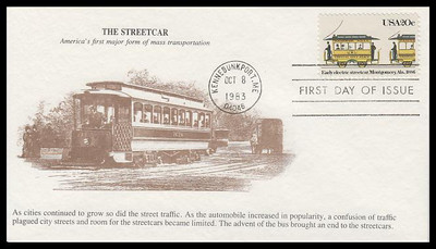 2060 / 20c Early Electric Streetcar : Alabama 1983 K.M.C. Venture FDC