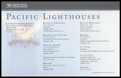 4146-50 / 41c Pacific Lighthouses 2007 Cacheted USPS First Day Ceremony Program