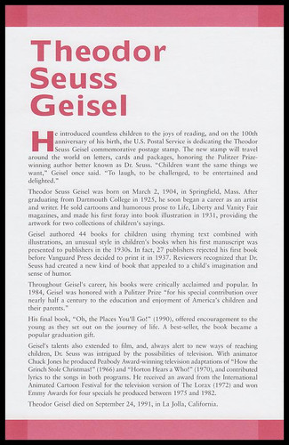 3835 / 37c Theodore Seuss Giesel : Dr. Seuss 2004 Cacheted USPS First Day Ceremony Program