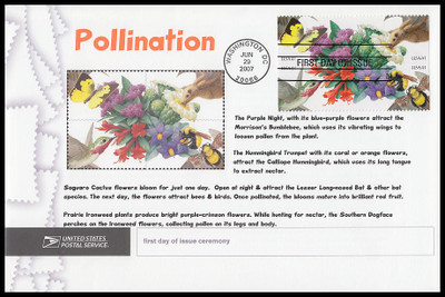 4156c / 41c Pollination Se-Tenant Block 2004 Cacheted USPS First Day Ceremony Program