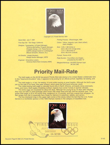 2540 / $2.90 Priority Mail Eagle and Olympic Rings 1991 USPS #9162 Souvenir Page