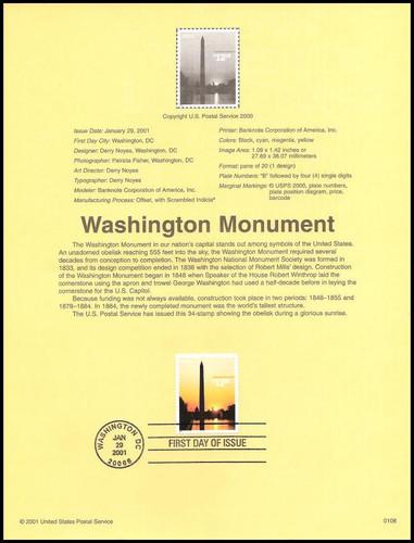 3473 / $12.25 Washington Monument Express Mail 2001 USPS #0108 Souvenir Page