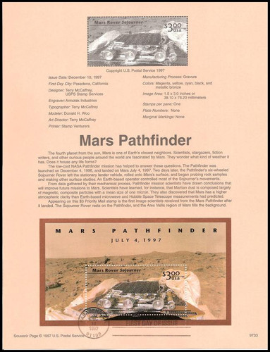 3178 / $3 Mars Pathfinder Priority Mail 1997 USPS #9733 Souvenir Page