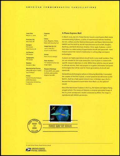 4019 / $14.40 X - Plane Express Mail 2006 USPS #0619 Souvenir Page