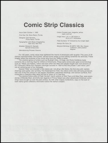 3000 / 32c Comic Strip Classics Pane of 20 : 1995 USPS #9542 Souvenir Page