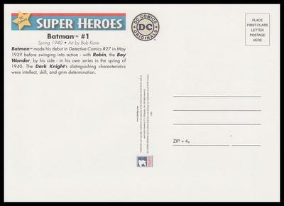 Batman Comic Book Cover : DC Comics Super Heroes Stamp Collectible Jumbo Postcard